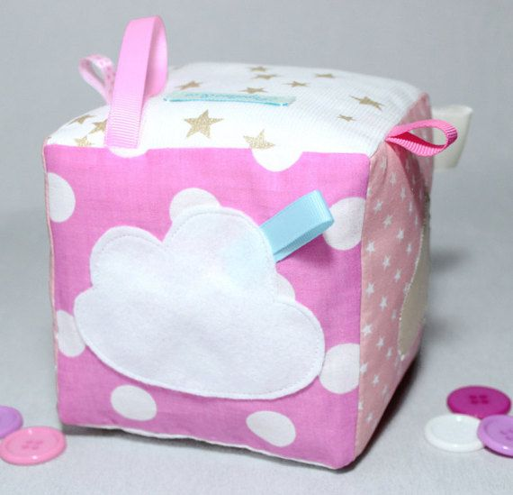 Baby Soft Block, Fabric Baby Sensory Blocks, Taggie Cube Baby Fille , Newborn Baby Soft Toys, Sensory Toys, Pink, Gold,  Gift Baby Girl,
