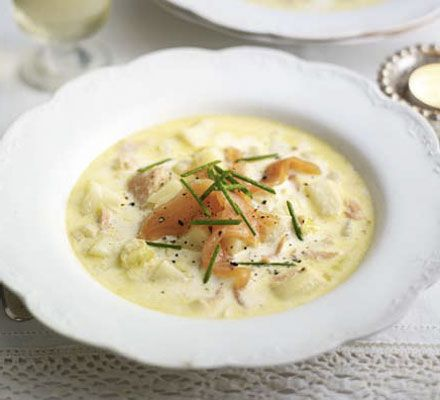 Creamy smoked salmon, leek & potato soup - made this use smoked salmon trimmings and blitzed to make a smooth soup. Was very tasty, but I think I prefer the traditional version with bacon!