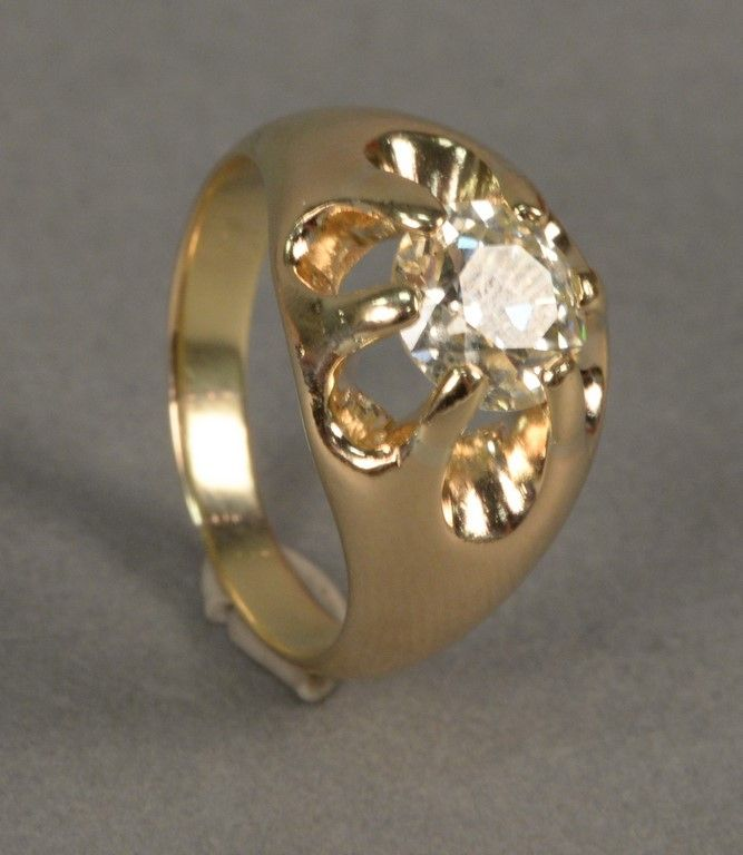 Man's 14K gold ring set with center diamond, approximately 2.36cts ~ Realized Price $6,600.00  #nadeausauction