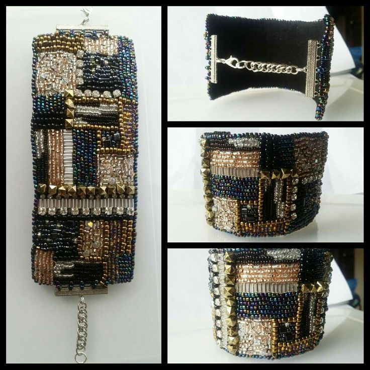 Patchwork couture cuff ❤ with swarovski crystal highlights by Glaetzer Jewellery Kreations