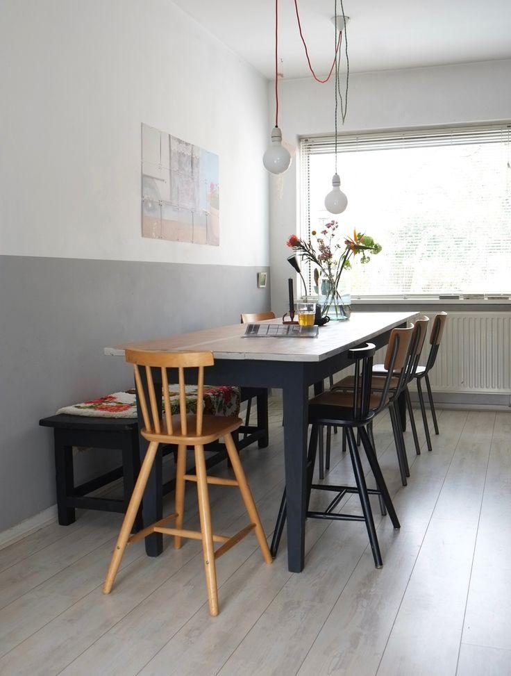 Meer dan 1000 idee n over houten eettafels op pinterest for Witte leren stoelen