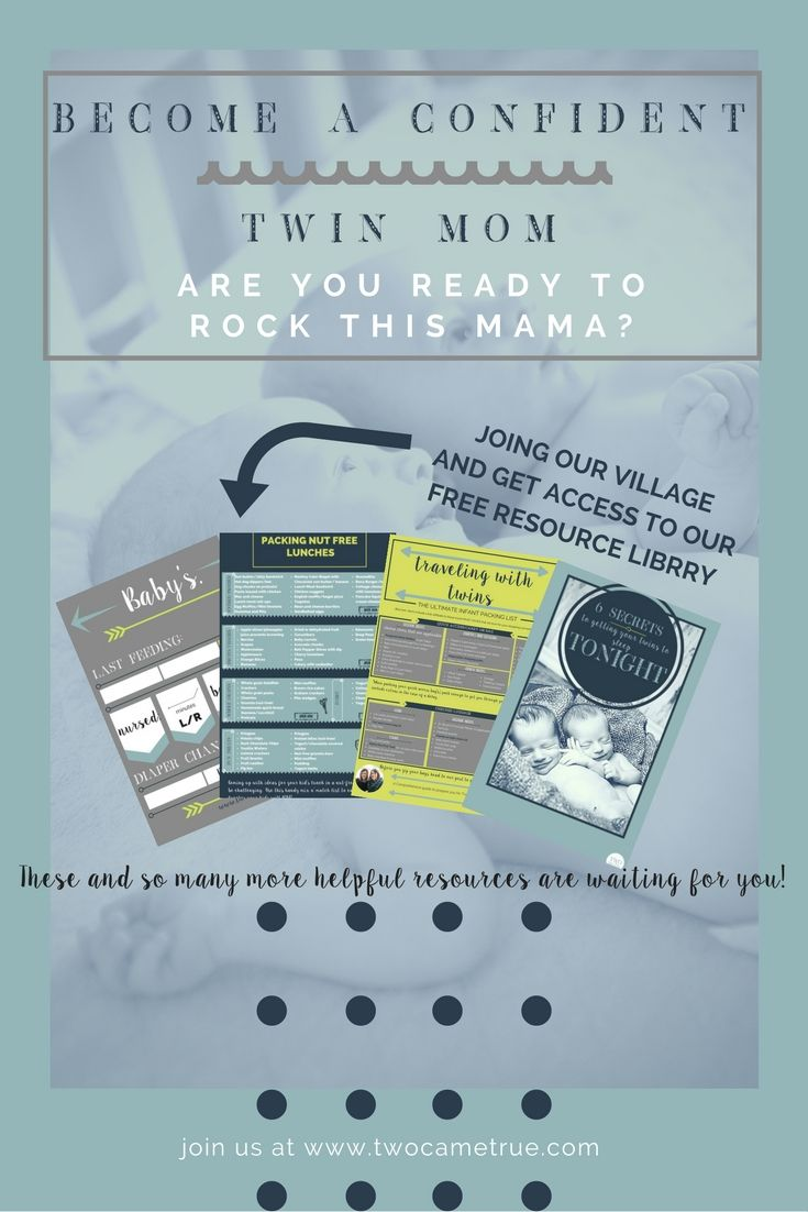 Moms are busy and don't have time to scour the internet for resources to help them confidently solve their mom problems. Join the Two Came True village of confident moms today and gain access to this complete library of helpful resources for twin moms. We are always adding new resources!