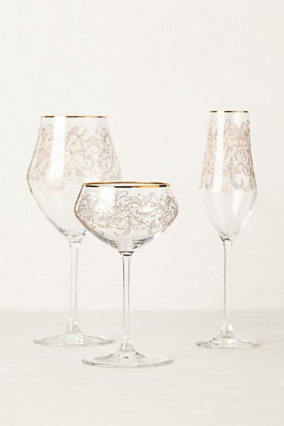 This beautiful Etched Fern Stemware will make a beautiful addition to our Thanksgiving place settings  #Anthropologie #PinToWin