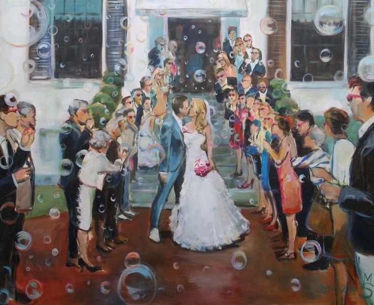 Live Painter Johannie, bruiloft, roze bril, schilderij, cadeau, wedding gift, ambacht, uniek en persoonlijk, bubbels, Mr & Mrs, entrance, familie en vrienden