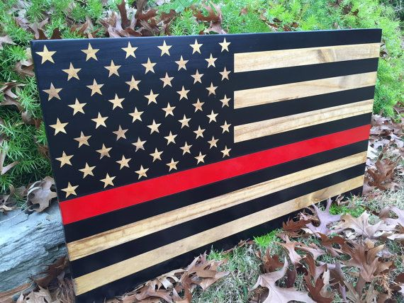 Firefighter Sign, Thin Red Line American Flag, Fire Department Sign, Thin Blue Line, Wooden Sign, Firefighter Gift, OneDayMoreDecor
