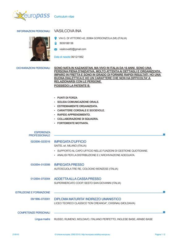 Dropbox Cv Europass 20160922 Vasilcova It 1 Doc Downloadable Resume Template Resume Template Resume