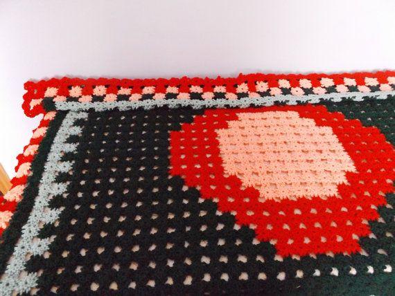 Crochet Dark Green Small Flowers Throw Blanket 52x43