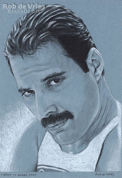 """January 2018, Freddy Mercury, """"I want to break free"""" Charcoal, Ink and white chalk on coloured paper. 21 x 15 cm. www.robdevries.com"""