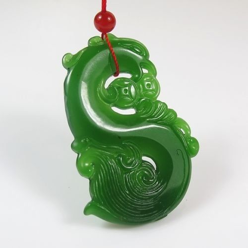 Oyang 1770 China hand-carved green jade Phoenix Auspicious Pendant Necklace Amulet Oyang: