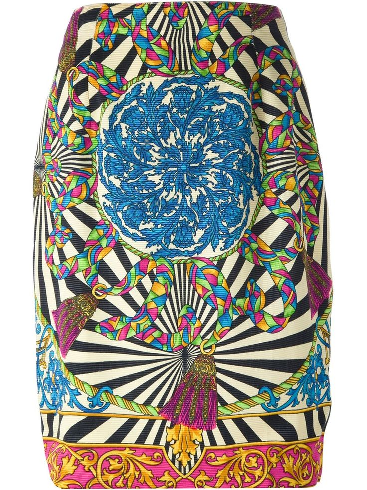 Istante By Gianni Versace Vintage high waisted baroque print skirt