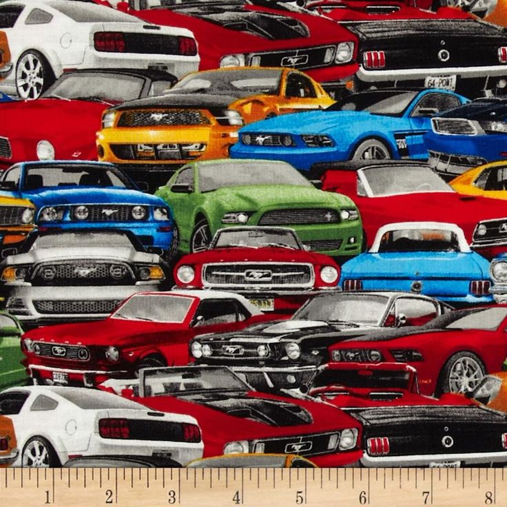 Ford Mustang Packed Cars Multi From Fabricdotcom From Fabrique Innovations This Licensed Print Is