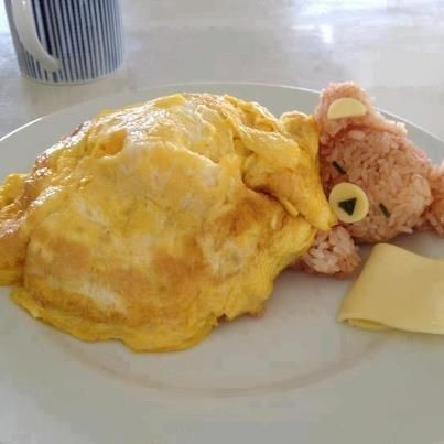 Bear in a Blanket. (Eggs and rice.) *No actual recipe, just a cute photo for the idea.