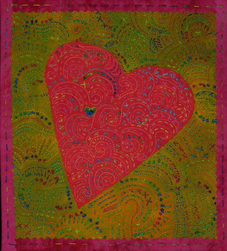Joyful Heart #22 by Laura Wasilowski. Hand embroidery using the machine quilting designs as inspiration.