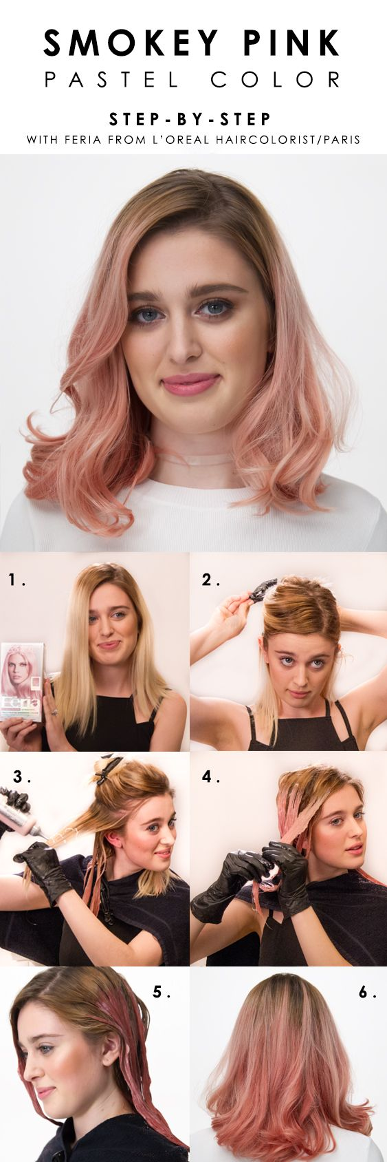 How to color hair pastel pink with L'Oreal Paris Feria Smokey Pastels. Watch Brianna Joy's how-to video for helpful tips and steps on dyeing hair light pink at home.