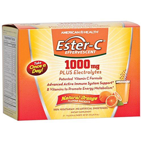 American Health Ester-C 1000 Mg Effervescent Powder Packets, Orange, 21 Count  1000 mg Patented Ester-C Vitamin C & 24-Hour Immune Support.  B Vitamins Plus Vital Electrolytes & Naturally Delicious Orange Flavor.  Once Daily - Non-GMO- No Artificial Sweeteners & Suitable for Vegetarians.