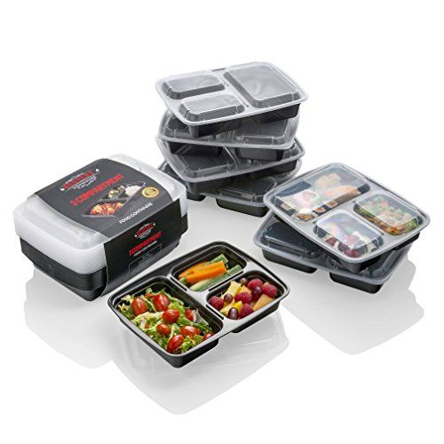 [10 pack] Meal Prep Containers - The BEST Food Storage Solution - Stackable 3-Compartment Plastic Container, MONEY BACK GUARANTEE- Lunch Box/Bento Box with Lids for Portion Control, Meal Prepping, Kitchen Storage, Freezer Containers, Hot Food Containers, Food Storage-Plastic Food Containers/Plastic