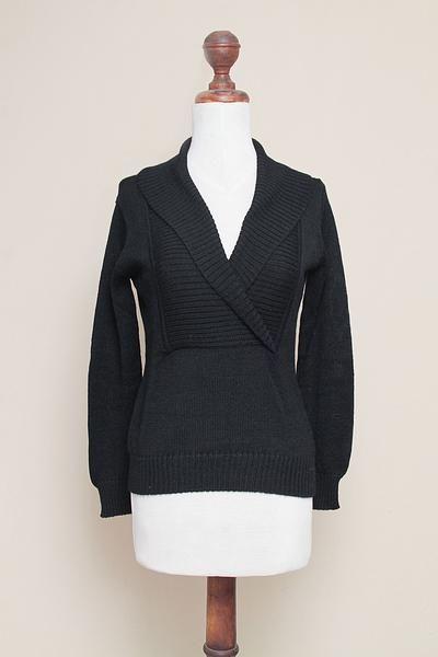 Women's Shawl Collar Solid Black Alpaca Pullover Sweater - Destiny Night | NOVICA