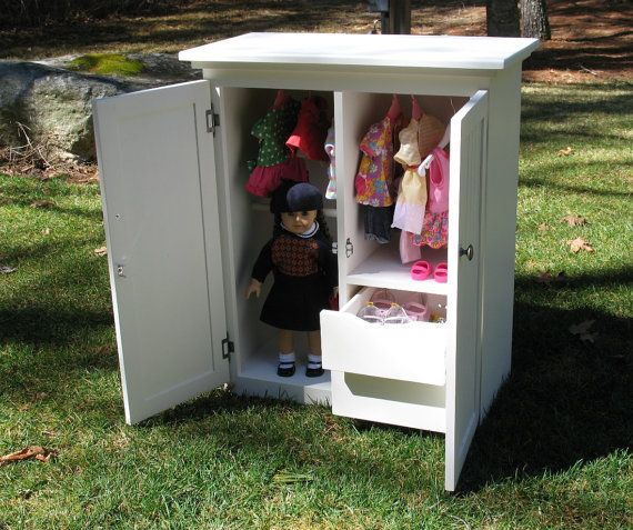 Doll Wardrobe Clothing Storage Armoire American Girl Furniture. via Etsy.