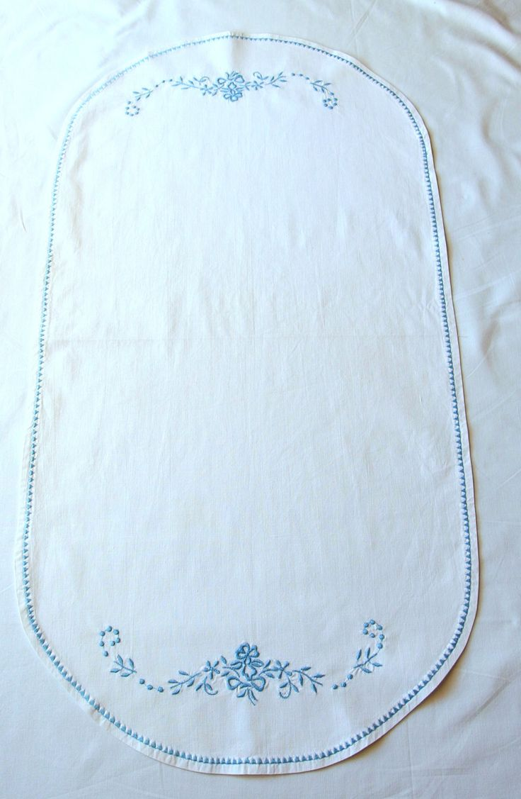 Vintage Oval Table Runner White Sky Blue Embroidery Framework Placemat Cotton Flowers zig zag piping 1970's by VintageHomeStories on Etsy #TableDecor #Vintage #Embroidery #Breakfast #Tea #Coffee #Placemat #Tablecloth #TableRunner #SkyBlue #WeddingDecor