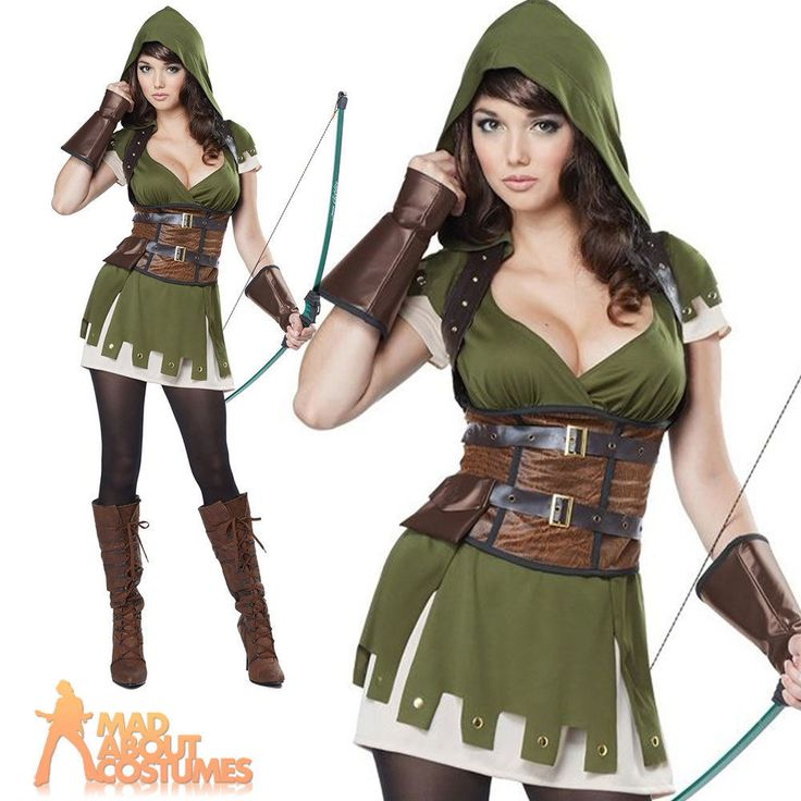 Adult Lady Robin Hood Costume Womens Fancy Dress Outfit New