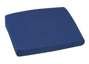"MABIS Sloping Back Seat Cushion, Navy Polyester/Cotton, 16"" x 18"" x 4""-2"", 1/Ea, MAB513-7947-2400 by Mabis. $18.16. 1 Each. Navy Polyester/Cotton Cover. MAB513-7947-2400. MABIS Sloping Back Seat Cushion. 16"" x 18"" x 4""-2"". * Designed to help prevent sliding forward in a chair.        * Ideal lumbar support for the wheelchair, home, office or travel.        * Constructed of highly resilient foam.        * Removable, machine washable navy polyester/cotton cover.        * Si..."