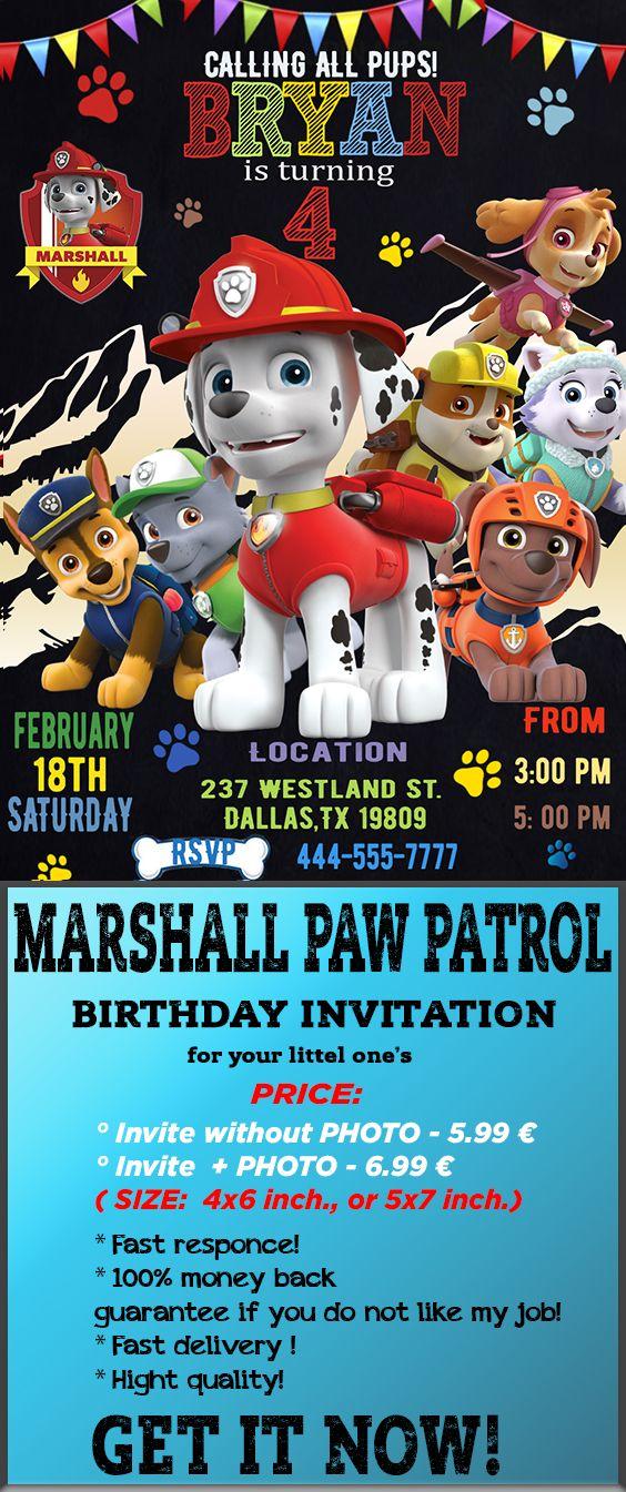 Paw Patrol Invitation Paw Patrol Birthday Invitation Paw Patrol
