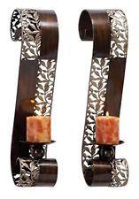 Candle wall mount holder brass vintage sconce 2 stick hanging metal solid