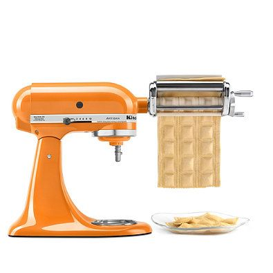 Ravioli maker attachment lets you stuff your favorite pasta with your favorite filling. The easy-fill hopper and specially designed rollers pinch and seal the filling into the ravioli, creating large delicious pockets.