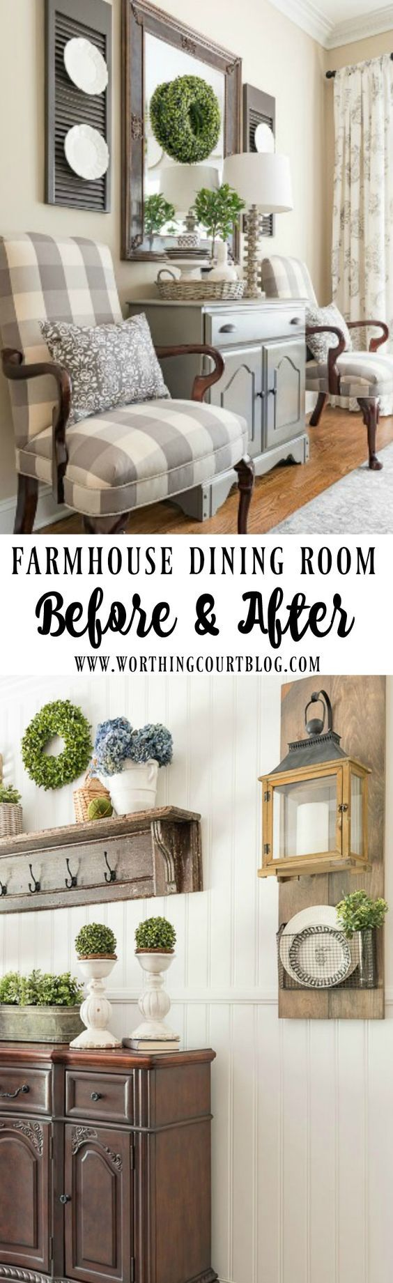 Farmhouse dining room makeover reveal featuring checks, greenery and texture. (via @suzyh)