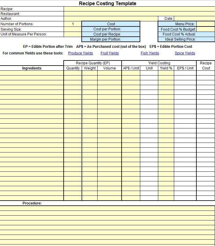 Weddingcateringcost Recipe Template Food Cost Restaurant Management