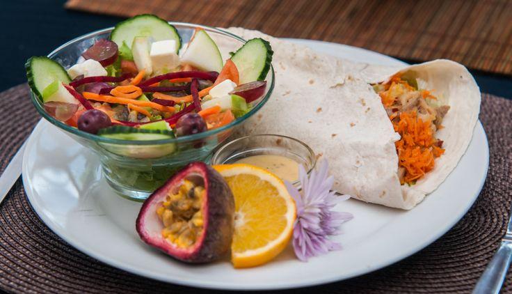 Hawaiian Wrap with salad