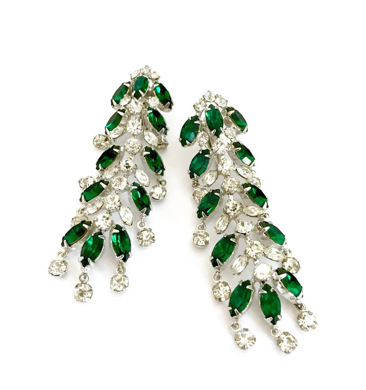 Excited to share the latest addition to my #etsy shop: Long Dangle Rhinestone Earrings, Emerald Green & Clear Marquis and Clear Chaton Stones, Silver Tone, Wedding Jewelry, Vintage Gift for Her