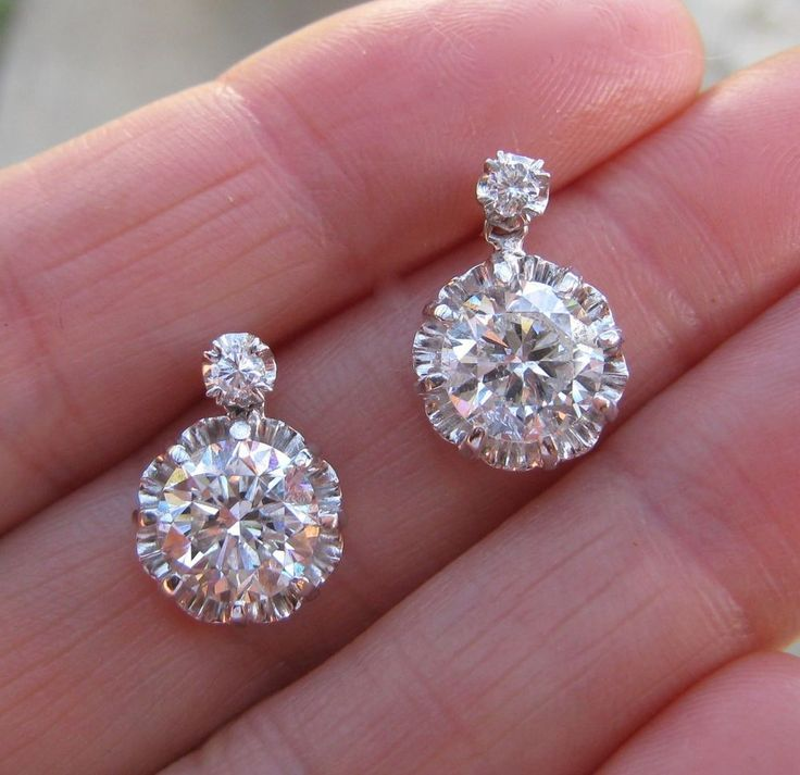 INCREDIBLE! Antique PLATINUM Huge DIAMOND Solitare EARRINGS EGL Certificate #DropDangle