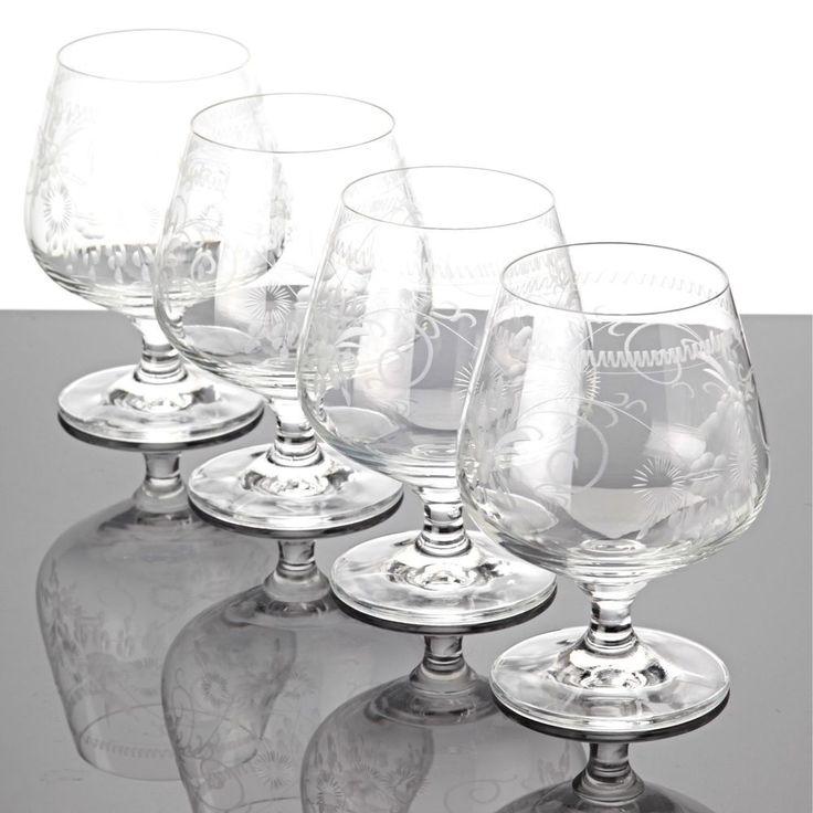 4 Cognacgläser Cognacschwenker Joska Bodenmais Gravur Borte Floral Vogel Gläser