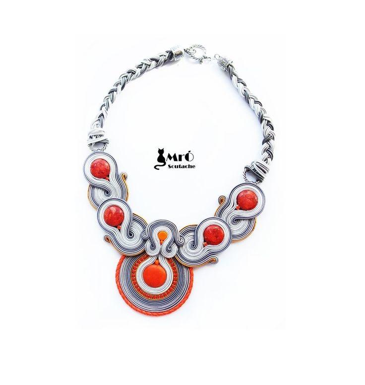 Gray Orange- Naszyjnik soutache (proj. MrÓ), do kupienia w DecoBazaar.com