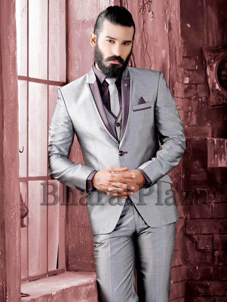 Ravishing grey color one button jute #Blazer with velvet lapel and contrast piping and pocket flap. Item code: TSP2734  http://www.bharatplaza.com/new-arrivals/mens-suits.html