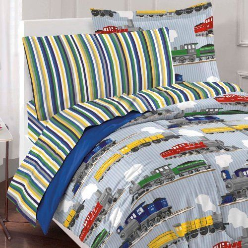 Boys Comforter Set Trains Ultra Soft Full Size Kids Collection Blue Bedding New #DreamFactory