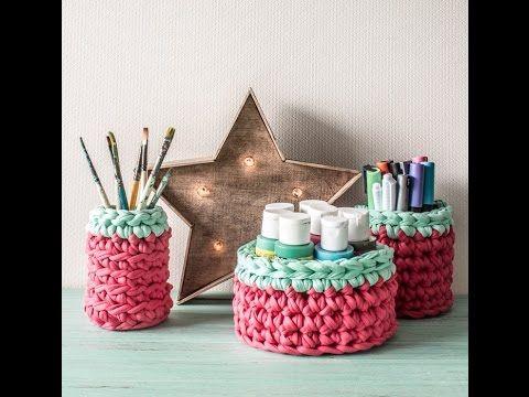 Aprende a tejer Cestas Crochet en Trapillo ~ Totora / Tutorial   Todo crochet