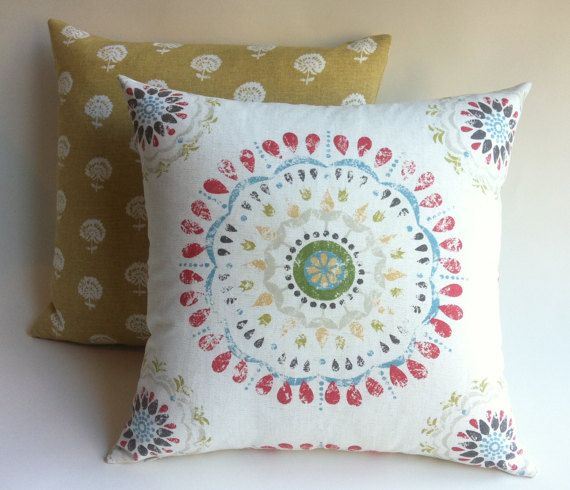 12 sizes: One Bohemian Coral Pillow Cover 18x18 24x24 26x26 Festive Red Coral Yellow Blue Green Cushion cover