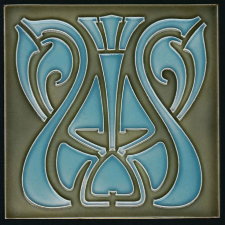 Jugendstil Fliese Tonindustrie Offstein Art Nouveau tile C1900