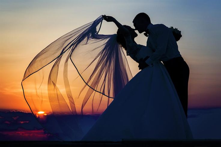 Sunset with bride and groom