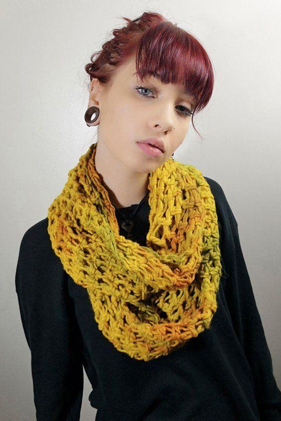 4f6abead296 Mustard, Hand Knit,Wool, Tie Dyed, Infinity, Scarf   Hookedwear ...