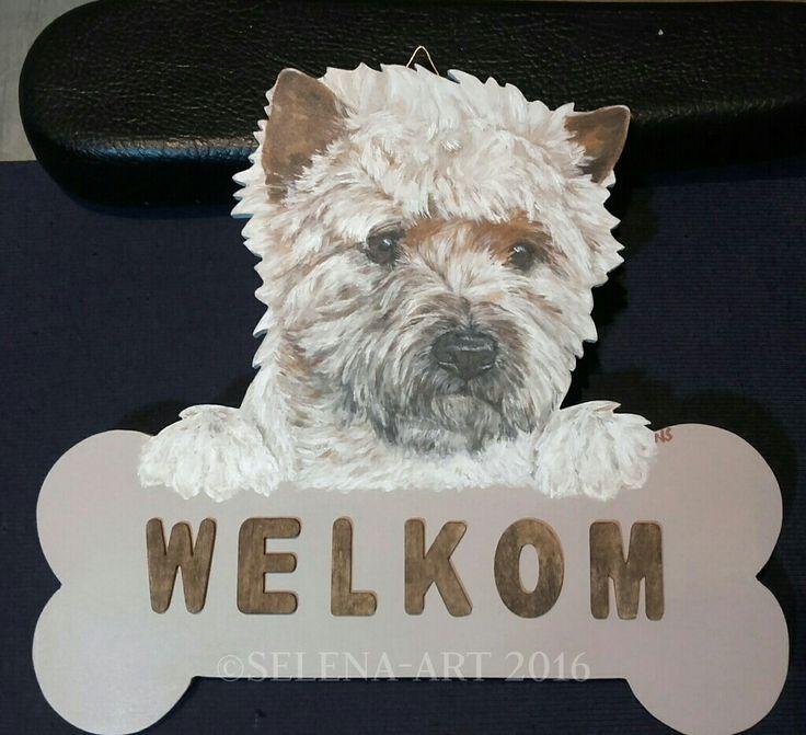 Welkom bord met Cairn Terrier www.selena-art.nl