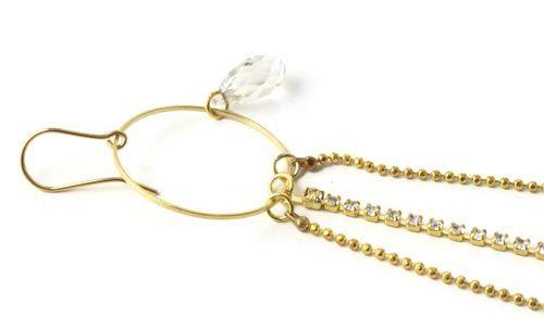 forgyldt ring med swarovski krystal dråbe Start med at fastgør dine endemuffer med øje i den ene ende af krystalkæden. Fastgør derefter låsehoveder i begge ender af kuglekæderne. Du kan evt. komme lidt lim i endemuffen før du klemmer den sammen.  Forbind så kæderne til ringen ved hjælp af øskner. Du skal bruge 2 stk. tænger til at åbne og lukke øskner. Du kan her se smyks guide i hvordan du åbner og lukker øskner korrekt.  Fastgør dernæst Swarovski dråben til ringen ved hjælp af et 4mm…