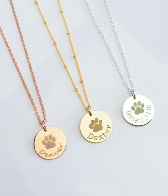 Dog necklace personalized, custom paw print necklace, pet ...