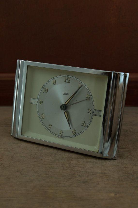 Vintage chrome steel alarm clock c. 1970's di Daedaleum su Etsy