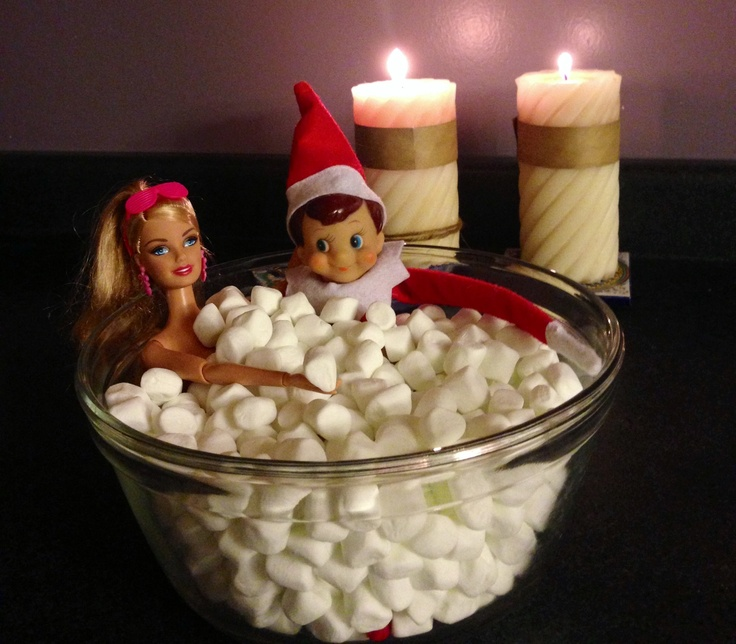 Elf on the Shelf romantic bubble bath with B.  adorable if EOAS is in home of adults only.