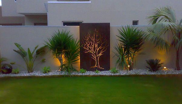 Rendered Wall With Feature Art Lighting And Plants