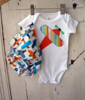Boys Diaper Cover Set Bottoms in Multi-Color Airplanes and Onesie by alyssa