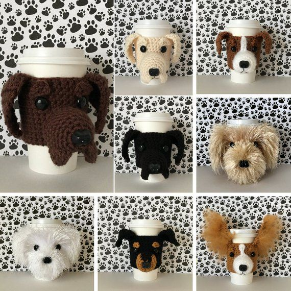 Dog Coffee Cup Cozy Crochet Pattern Bundle With Images Dog Themed Gifts Crochet Dog Dog Gifts